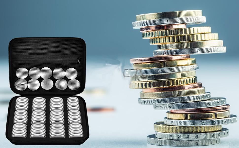 8 TamaaOs, 30 Piezas Yaootely Soporte de C/áPsulas de Monedas de 46 Mm y Estuche Protector Caja de Estuche de Monedas para Suministros de Recolecci/óN de Monedas
