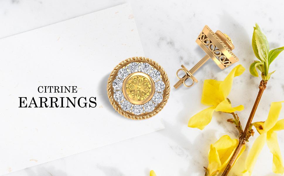 Banner Citrine Earrings