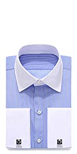 Men's Stripe Double Cuff Dress Shirt Cufflinks Included