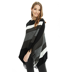 Ferand Women's Elegant Knitted Poncho Top with Stripe Patterns and Fringed Sides