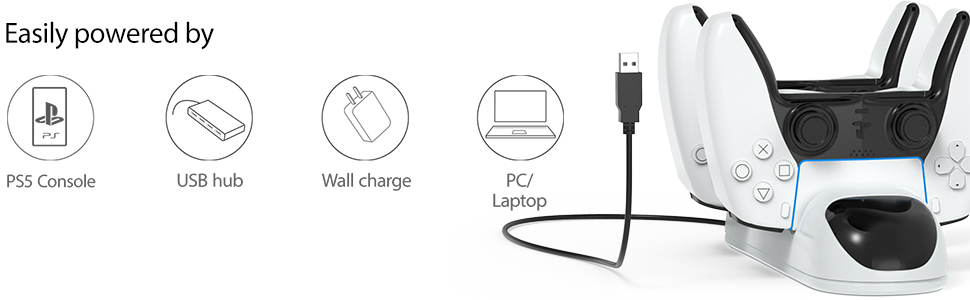 Easily powered by the PS5 console, USB port, wall power source or PC/Laptop