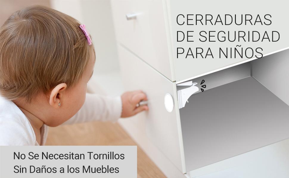 COSYLAND Cerraduras Invisible Magnéticas de Seguridad para Niños Cierres de Seguridad Para Cajones Armarios Bloqueo sin Perforaciones con Adhesivo (12 Cerraduras+2 Llaves+2 Pestillos) Cuidado de Bebé: Amazon.es: Bebé