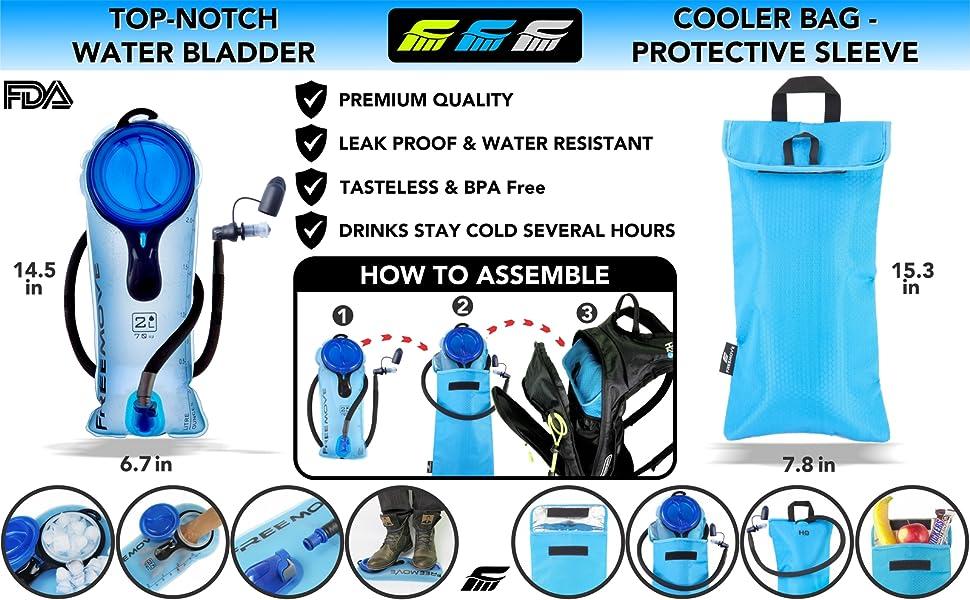 FREEMOVE hydration bladder water bag 2L 3L reservoir hydration bag camelbak pack cooler bag sleeve