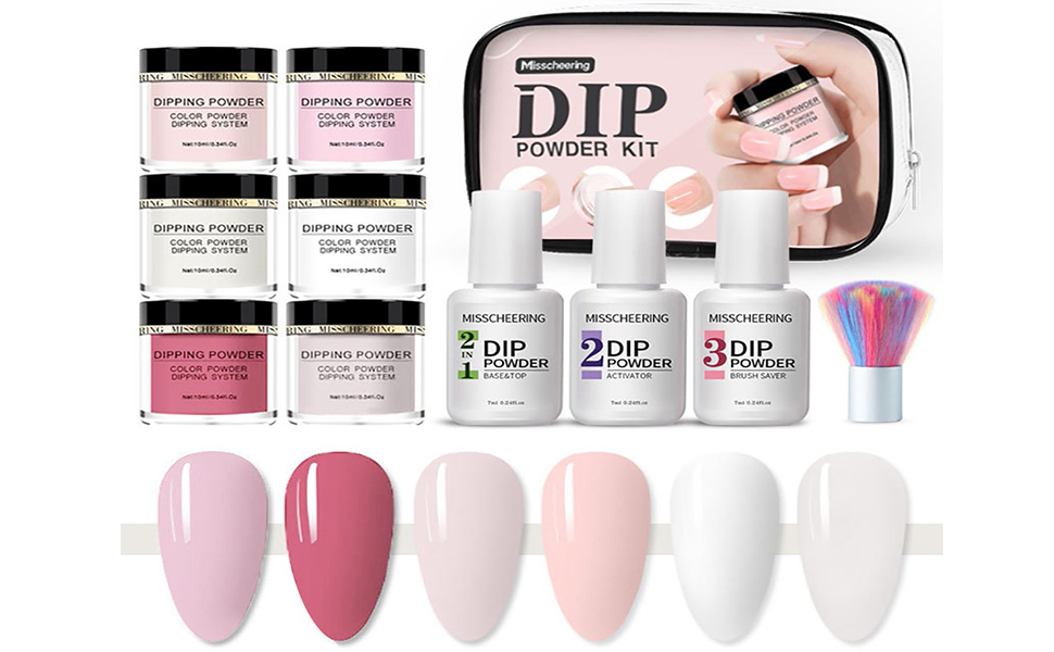 Dipping Powder Nail Starter Kit Acrylic Dipping System with 6 Colors