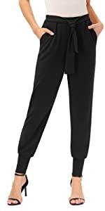 Women's Pants Stretchy Skinny Casual Comfort Office Ponte Pants with Belt