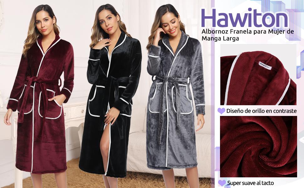 Hawiton Albornoces Mujer Invierno Polar de Mangas Larga Albornoz de Ba/ño para Mujer Bata Ba/ño Franela con Cintur/ón