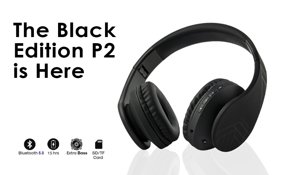 bluetooth headphones black edition P2 wireless headphones over ear superior sound quality bluetotoh