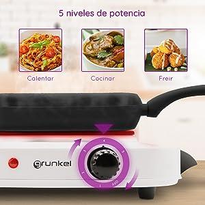 Grunkel - EHP-118 - Hornillo Eléctrico de 18cm de Placa. Cocina Eléctrica portatil ideal para Caravanas, Camping o Cocinas Pequeñas - 1500W - Metal ...
