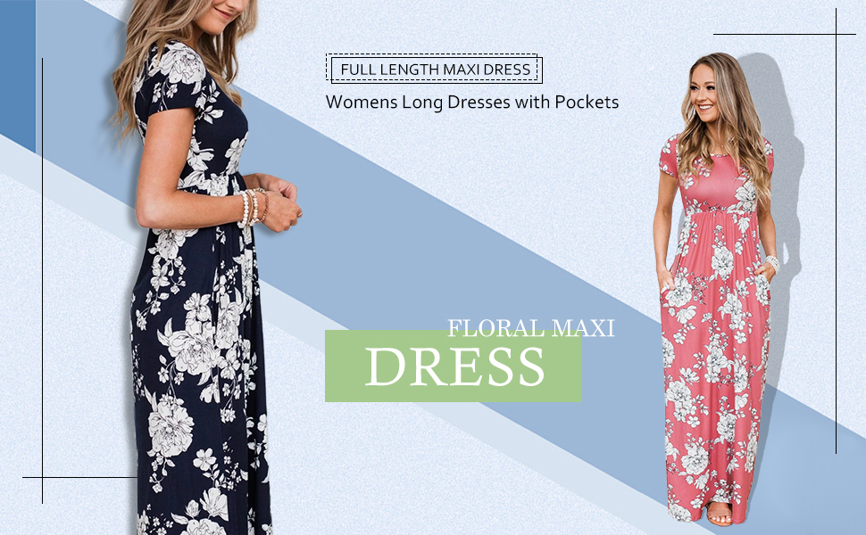 I-CURVES Womens Long Pink and Dark Blue Floral Pattern Summer Maxi Dress