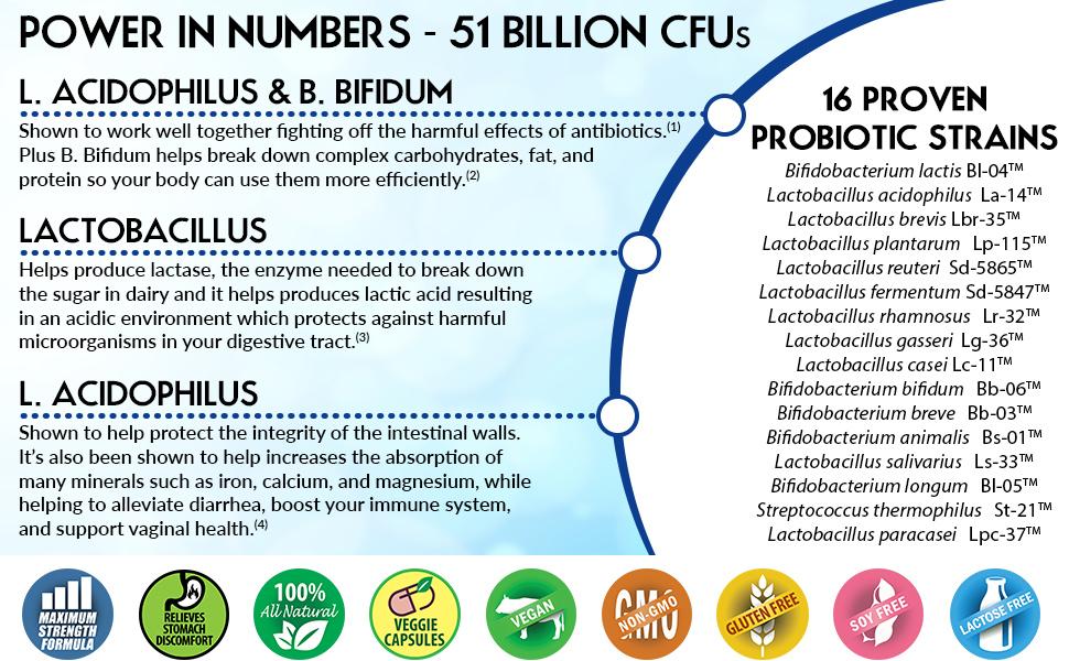 51 Billion CFS, 16 Proven Probiotic Strains