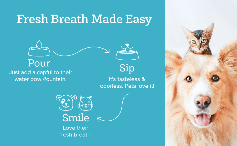 This pet dental water additive is the easy way to clean pets' teeth and gums. Just add to water.