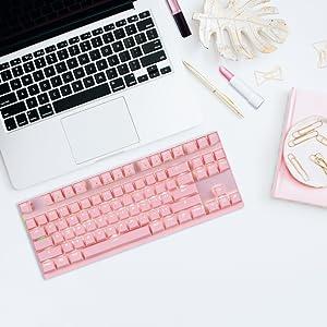 EasySMX Teclado Inalámbrico, 2.4G Teclado Inalámbrico Ordenador Keyboard Wireless 87 Botones para Oficina y Gaming Compatible con Sistema de ...