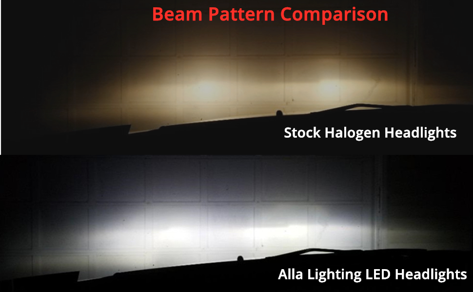 Beam Pattern of H11 Halogen vs Alla Lighting LED Headlights Bulbs H8 H9
