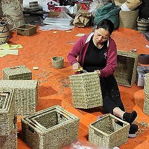 Making seagrass baskets