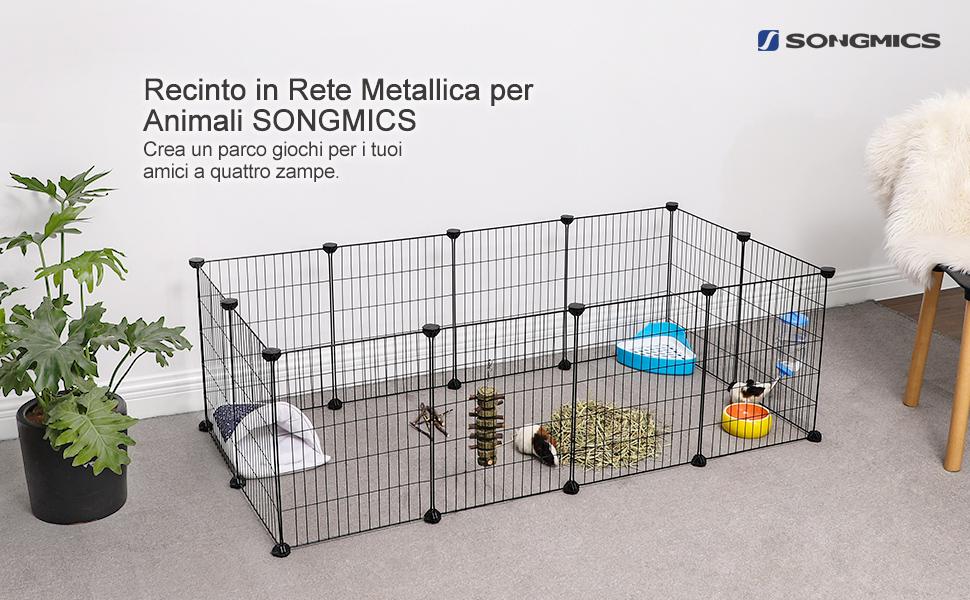 per Uso Interno 143 x 73 x 46 cm Nero LPI01H SONGMICS Recinzione per Animali Recinto Personalizzabile per Animali di Piccola Taglia come Criceti Include Martelletto di Gomma