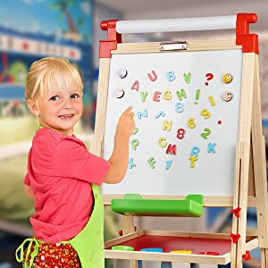 s - Joyooss Kids Wooden Easel With Extra Letters And Numbers Magnets, Adjustable Double Sided Drawing Board Whiteboard & Chalkboard Dry Easel Board, Children Art Easel For Boys Girls Painting Drawing