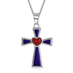 Southwestern Style Gemstone Blue LapisRed Heart Cross Pendant Religious 925 Sterling Silver Necklace