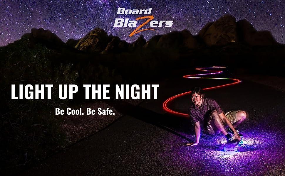 LED skateboard lights for kids. Light up the Night. Be Cool Be Safe