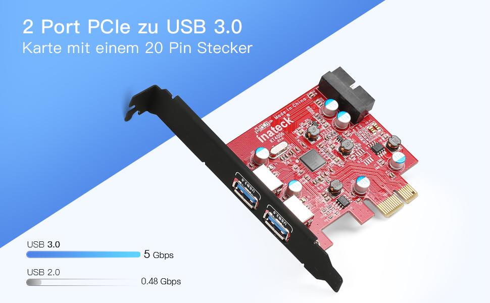 2 Ports USB 3.0 Karte