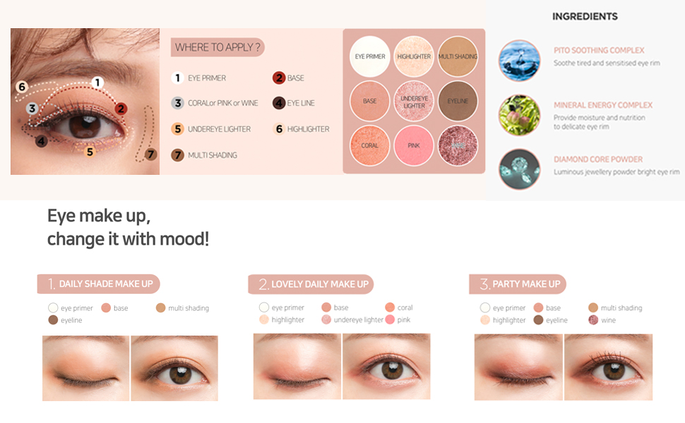 eye shadow kbeauty korean cosmetics eye makeup shining glowing natural ingredients mood