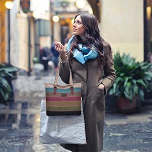 Damen Handtasche, Canvas Tasche Multi-Color Streifen Umhängetasche