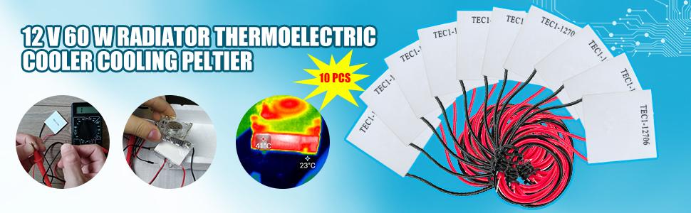 diymore 10pcs TEC1-12706 12V 60W 6A 40MMX40MM Heatsink Thermoelectric Cooler Cooling Peltier Plate Module