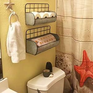 galvanized metal wall storage holder galvanized tin shelves rustic mounted basket  wall shelf