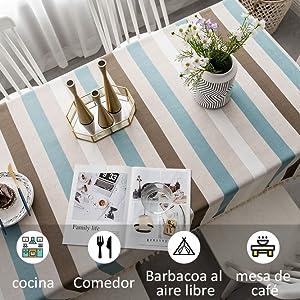 Pahajim Manteles De Mesa Estilo Simple Manteles Mesa Rectangular con Borla Diseñada Empalme a Rayas Decoración de Mesa de Jardín(Cuadrado, 140 x 140cm: Amazon.es: Hogar