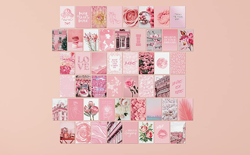 Amazon Com Artivo Pink Aesthetic Wall Collage Kit 100 Set 4x6 Inch Room Decor For Teen Girls Pretty Blush Pink Wall Art Print Dorm Photo Collection Small Posters For Room Aesthetic Posters