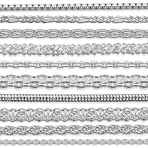 oyería - Collar - Fina Plata De Ley 925 - Diamante Corte - Cadena de Belcher