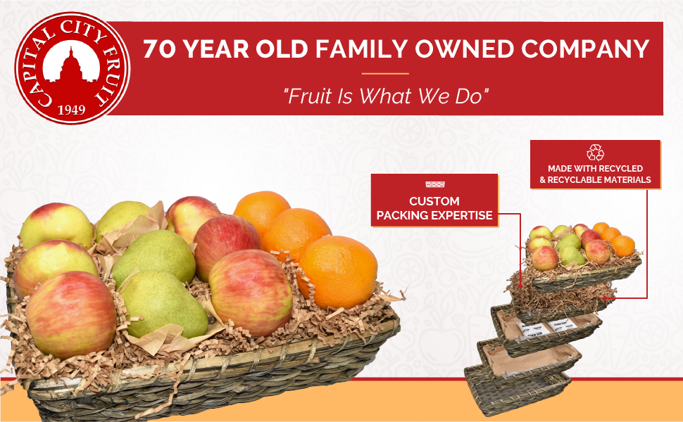 Image of basket and packaging. Text reads: 70-Year-Old Family-Owned Company. Fruit is what we do.