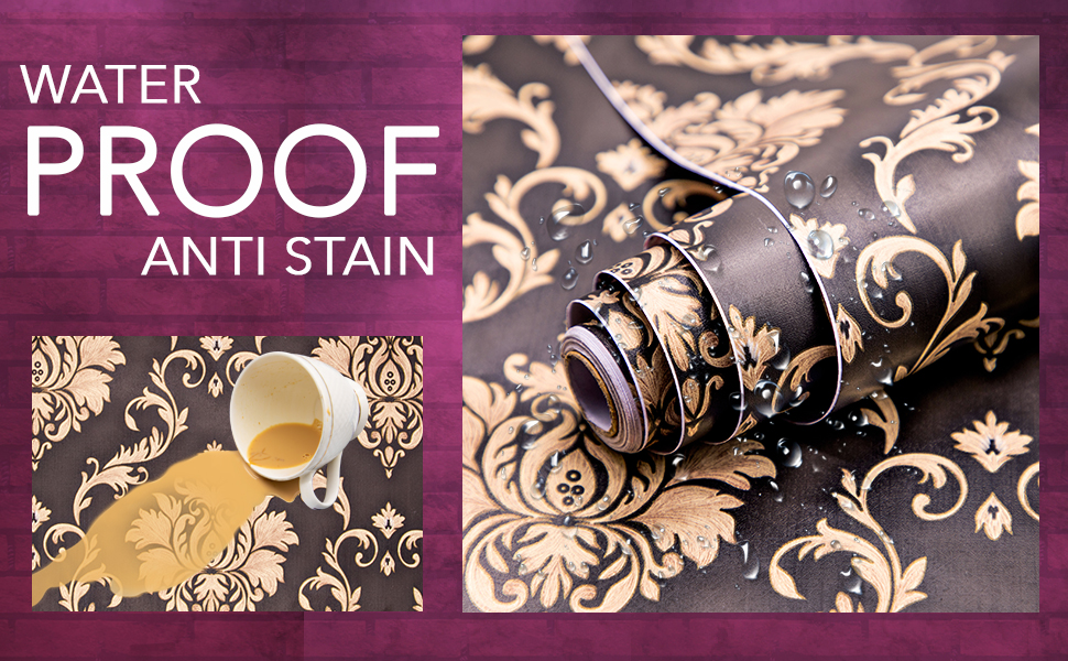 black damask wall stickers wallpaper for wall waterproof, anti stain, oil resistant, decals DIY