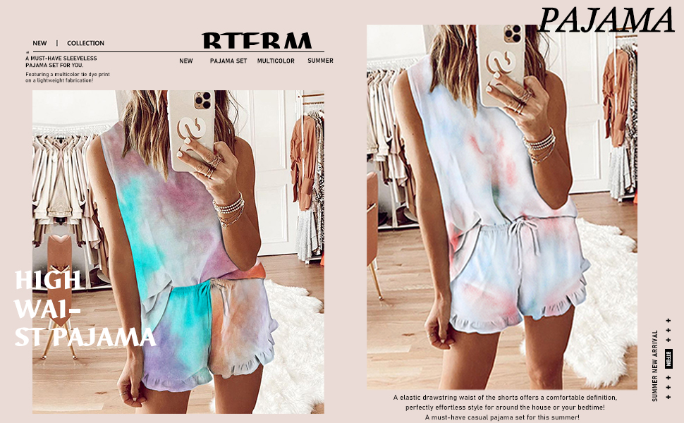 women nightweight soft pajamas sleeveless leisure wear
