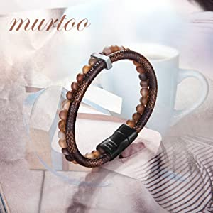 Brown Bead Leather Bracelet