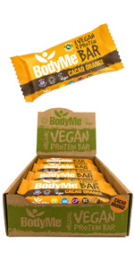 BodyMe Organic Vegan Protein Bars or Vegan Protein Bar or Vegan Protein Snack - Cacao Orange