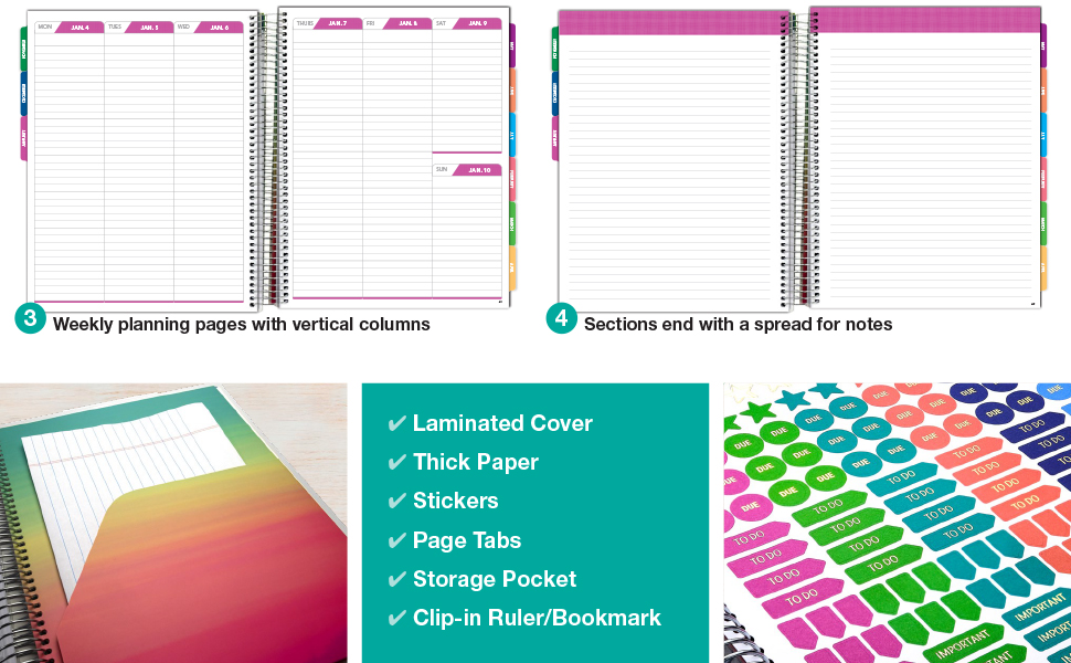 8.5x11 Includes Page Tabs Nov 2020 Through Dec 2021 Seaside Watercolors Bookmark Pocket Folder Daily Weekly Monthly Planner Yearly Agenda Planning Stickers Deluxe 2021 Planner: 14 Months