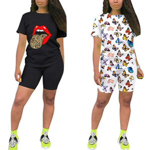 Cute LIps Butterfly Print TShirt 2 Pieces Outfits Sets