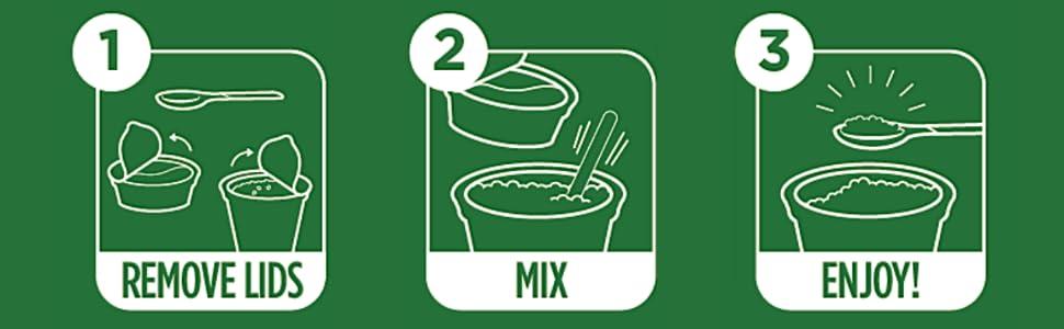 directions instructions easy steps 1 2 3 remove lids mix stir enjoy