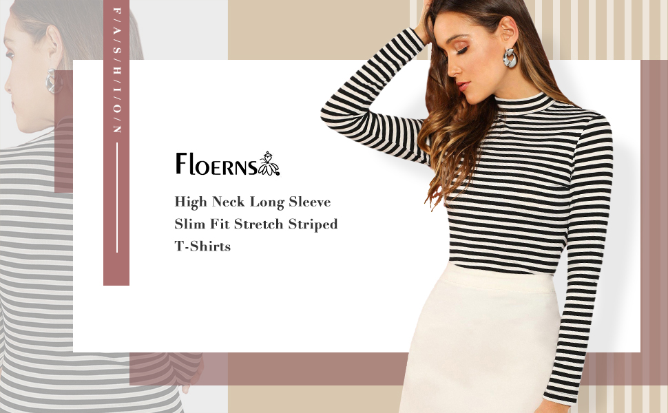 Women Casual Long Sleeve Floral Letter Slim Fit High Neck T-Shirt