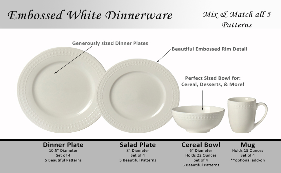 Embossed Plate Plates Dinner Salad Appetizer Cereal Bowl Mug Bowls White Piece Set Farmhouse Chic
