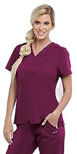 Model wearing Barco Grey's Anatomy Active GVST028 women's v-neck scrub top