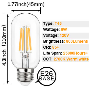 table lamps with 6W 60Watt led edison bulbs