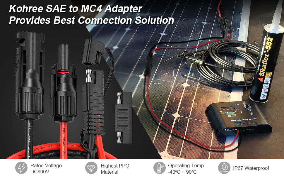 Kohree MC4 to SAE Adapter Cable 2FT 10 AWG Male and Female Connector with 1pcs SAE Polarity Reverse Adaptor for RV Solar Panel