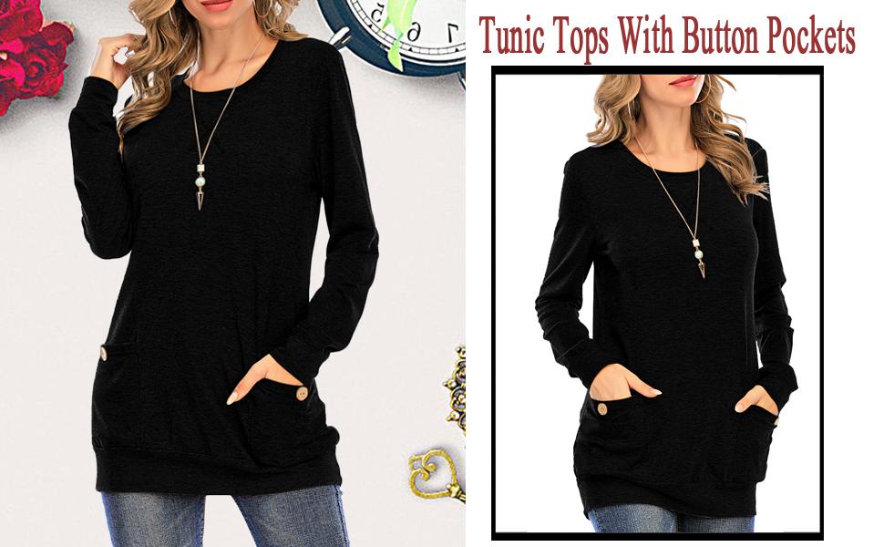 women long sleeve tunic fall tunics for women to wear with leggings slim fit long sleeve women