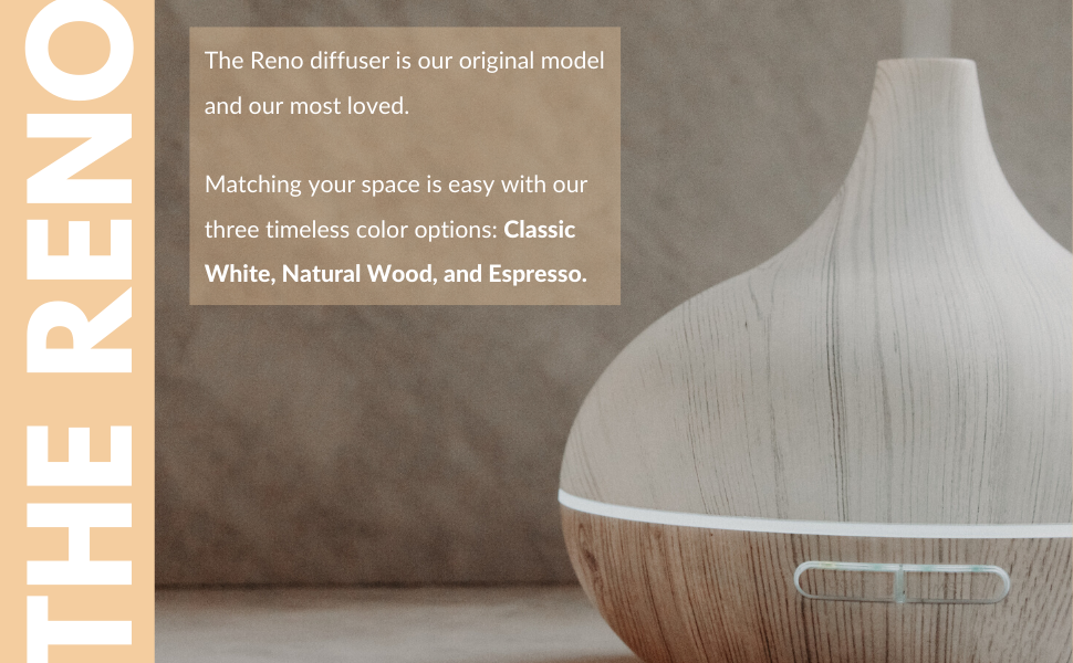 reno diffuser, white wood essential oil diffuser, cool mist humidifier