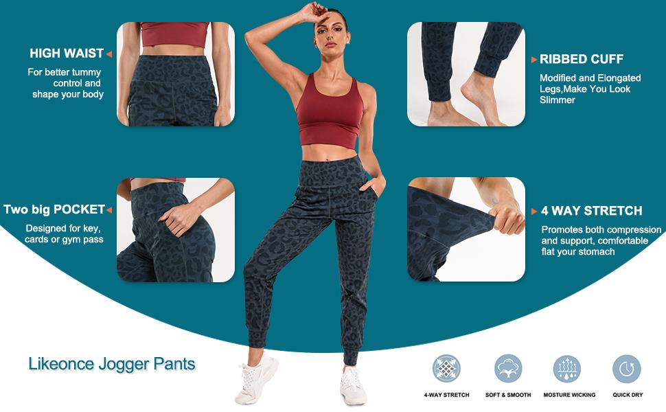 Women's Workout Yoga Leggings High Waist Athletic Pants Tummy Control Stretch Joggers Sweatpants