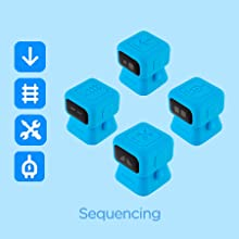 Use sequencing robots to move forward, build railways, charge and apply tools.