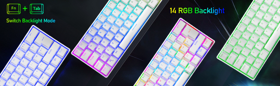wired mechanical gaming keyboard with rainbow backlight