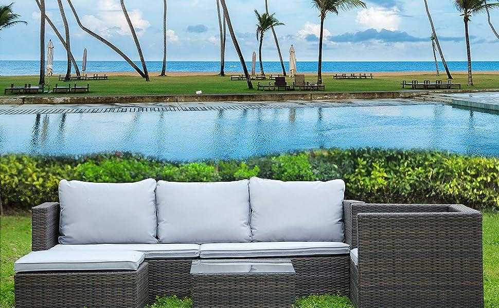 5PC Rattan Garden Furniture Set