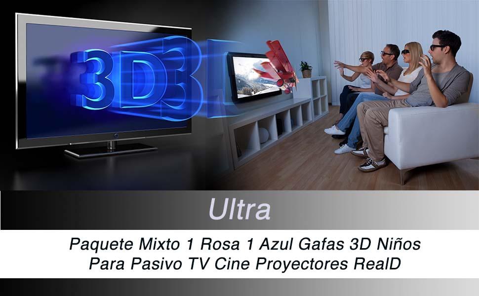 Ultra 1 Rosa 1 Azul Gafas 3D Pasivo para Niños para Uso con todas ...